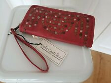 Vilola Castellani  red studded leather purse/clutch campomaggi style