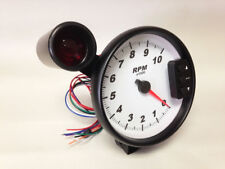 "5"" C2 White Pedestal Tachometer, Peak Recall, Shift Light, Black Bezel 3296BLK"