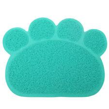Blue Paw Shaped PVC Cat Dog Mat Non-slip Pet Food Water Bowl Feeding Placemat