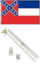 2x3 2'x3' State of Mississippi Flag White Pole Kit Set