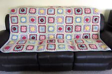 "Handmade Granny Square Afghan Throw Blanket Hand Crochet 3D Flowers 52"" x 72"""