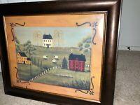"""Lovely Framed Art Print by Artist Lisa Kennedy """"Country Living"""" 24""""x20"""", MB309"""