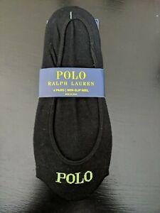 Ralph Lauren No Show Socks Liners, 6 Pair, Black