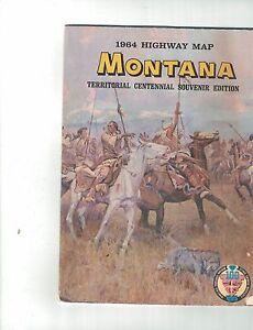 Montana Highway Map 1964 Territorial Centennial Souvenir Edition