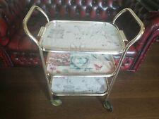 Vintage Retro Gold Aluminium Tea Drinks Trolley Hostess with serving tray