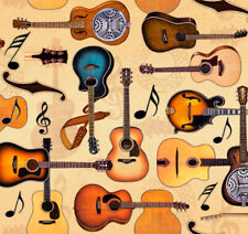 Guitar Fabric, BTY, Lil' Bit Country, QT 27744 -AE, Tan, TheFabricEdge