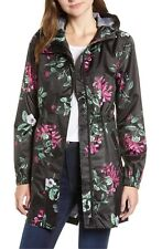 NEW  Joules Floral print Packable  Hooded Raincoat Size 14 US