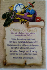 Glückwunschkarte  Ehren Urkunde mit Umschlag  Sportschuhe Hantel Sporttasche Neu