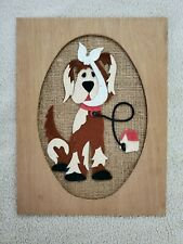 "Vintage / Felt Art Kids Crafts - ""Dog"" Picture - (Framed On Burlap) 1970"
