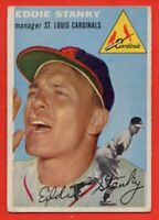 1954 Topps #38 Eddie Stanky VG-VGEX Wrinkle Manager St. Louis Cardinals FREE S/H