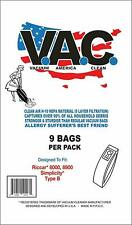 9 Bags per pack Vacuum Bags for RICCAR Style 8000, 8900, and Simplicity Type B