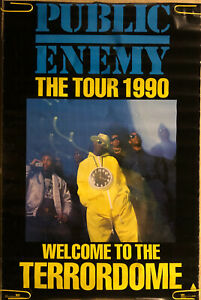 Original Vintage Poster Public Enemy The Tour 1990 Welcome To The Terrordome