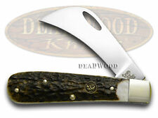 HEN & ROOSTER AND Genuine Deer Stag Hawkbill Pocket Knife Knives