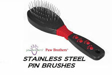 PAW BROTHERS LARGE Professional PIN BRUSH-Stainless Steel PET Grooming DOG CAT
