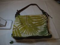 Fossil tote bag purse tote green leaves brown hobo shoulder women's GUC ladies