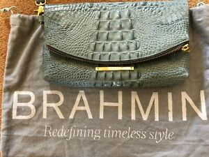 Brahmin Melbourne Leather Purse Fold Over Flap Front Wrist Strap Peacock Green