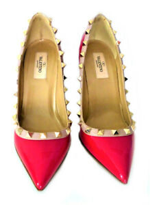 Valentino Garavani Women's Red Patent Leather Rockstud Pumps 3in Heel Sz EU37.5