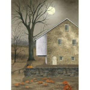 New Billy Jacobs Fall AUTUMN MOON BARN PUMPKIN PICTURE Canvas Wall Hanging