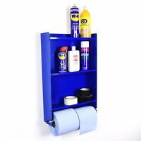 Blue Towel Wall Mounted Roll Dispenser Paper Towel Hanger Holder Tidy Shelf Unit