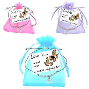 Dog Puppy Miracle Bead Wish Bracelet Paw Print Charm Small Verse Card Friendship