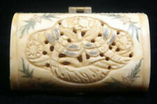 Chinese Old Bone Carved Two Dragonfly Jewellery Box