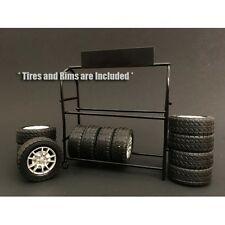 1/18- New Metal Tire Rack w/tires  for your shop/garage - American Diorama
