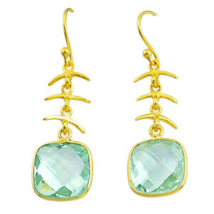 10.63cts Natural Green Amethyst 925 Silver 14k Gold Dangle Earrings T14607