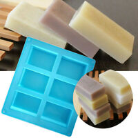 6-Cavity Rectangle Soap Mold Silicone Craft DIY Making Homemade Cake Mould Tool