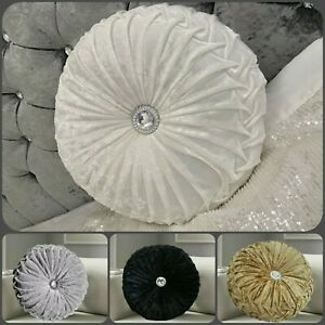 New supersoft Crushed Diamond Stitched  Velvet Round Cushion Filled SmallLarge