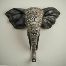 ELEPHANT HEAD MASK Wall Hanging Art Decor Sculpture - (29cm High) *Boxed*