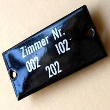 ZIMMER Nr 002 Altes Emailschild um 1950 PERFEKT Technik Hotel Jugendherberge RAR