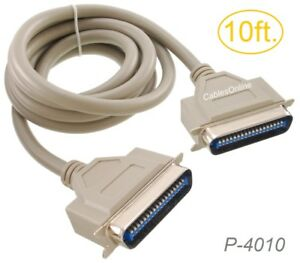 10ft CN36 Centronics Male to Male 36-Conductor Printer Cable, P-4010