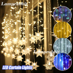 Outdoor Christmas Big Snowflake LED Curtain String Light Window In/Outdoor Decor