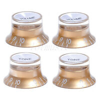 4 Pcs Guitar Top Hat Speed Control Knob Knobs 2 Volume 2 Tone Gold