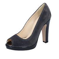 scarpe donna OLGA RUBINI 35 EU decolte nero argento tessuto BY328-B