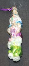 "Christopher Radko 2002 Glass Bunny Ornament ""Hop To It!"" In Original Box w/Tags"