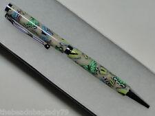 NEW USA Handcrafted Polymer Clay Pen GREEN YELLOW BLUE BUTTERFLIES Med B013