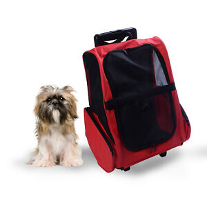Convertible Pet Carrier Backpack Luggage Trolley Style Small Dog Cat Travel Bag