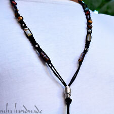 MEN'S AGATE & TIGER'S EYE & JASPER GENUINE GEMSTONE BEADS SHAMBALLA NECKLACE