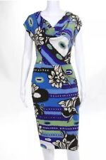 New ESCADA Size: 36 (4-6 US) Abstract Print Short Sleeve Cocktail DRESS