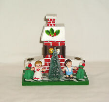 Vintage Hand Painted Wood Two Candle Holder~Chimney, Tree, Children, Cat~Unusual