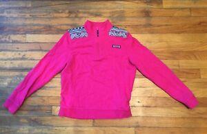 Womens VINEYARD VINES 1/4 Zip White Pullover Sweatshirt Jacket Pink Size Medium