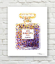 CHANEL NO 5 Contemporary Watercolor ART 11 x 14 Print by Artist DJR