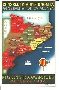 ESPAÑA 1936 GUERRA CIVIL TARJA GENERALITAT DE CATALUNYA  MAPA OCTUBRE 1936
