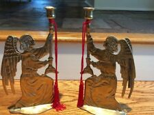 VINTAGE Pair Solid Brass Angel Taper Candle Holders 12 Inches