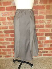 BLACK APPLE AUSTRALIA DESIGNER LADIES 12 TAUPE PANELED SKIRT RAYON LINEN POLY