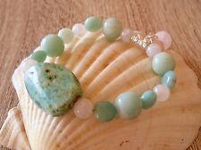 Calming Nurturing CHUNKY Kunzite Chrysocolla Amazonite Moonstone Reiki Bracelet