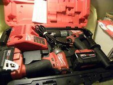 Milwaukee Cordless 2897-22 Fuel 2pc Kit 2704-20 2853-20 + 2x 5.0Ah Batteries EXC