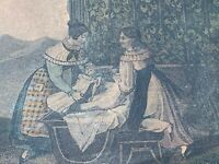 Antique FRENCH PROVINCIAL Wall Art Lithograph BONSOIR MAMAN Baby Mother ❤️sj3j