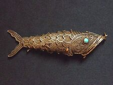 SOLID SILVER ARTICULATED FISH SNUFF BOX / PENDANT REAL TURQUOISE EYES 1910